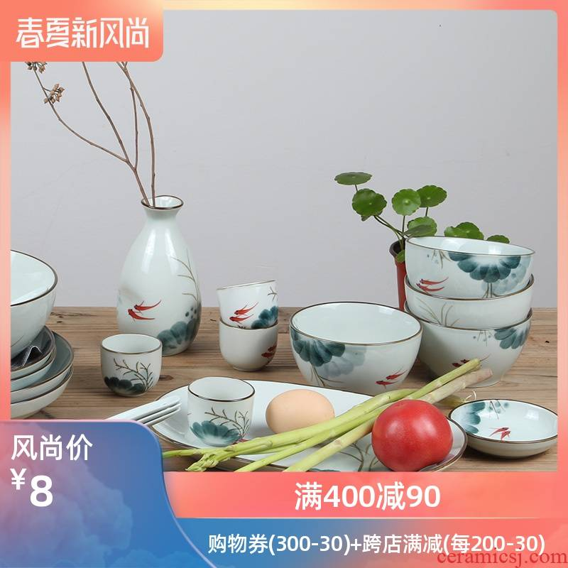 More creative household move of Chinese style tableware to eat rice bowls ceramic bowl bowl mercifully rainbow such use large soup bowl