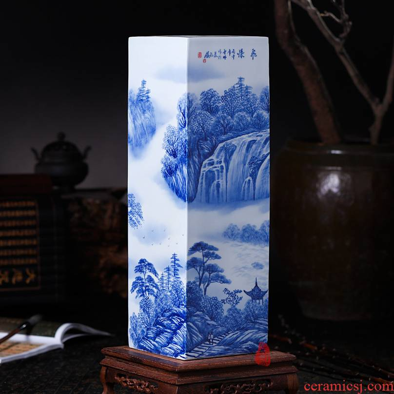 Jingdezhen ceramics hand - made waterfall landscape painting and calligraphy master cylinder quiver large vases, study of office furnishing articles