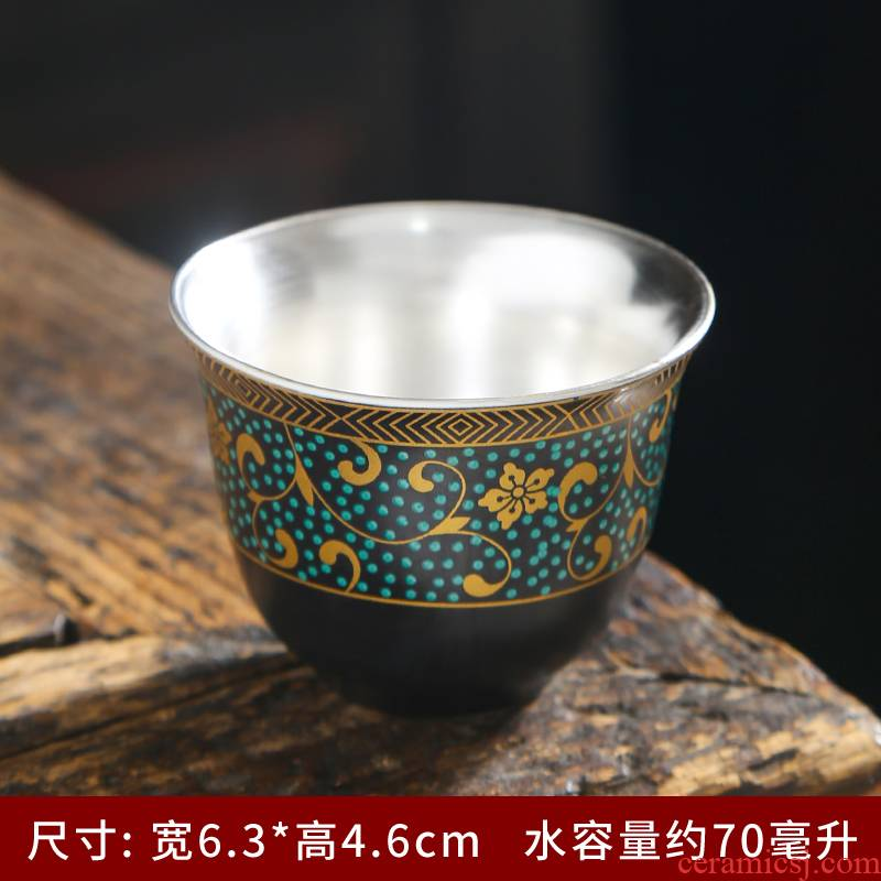 Blue and white porcelain silver cup your up household ceramic cups coppering. As silver tea master single CPU kung fu tea tea