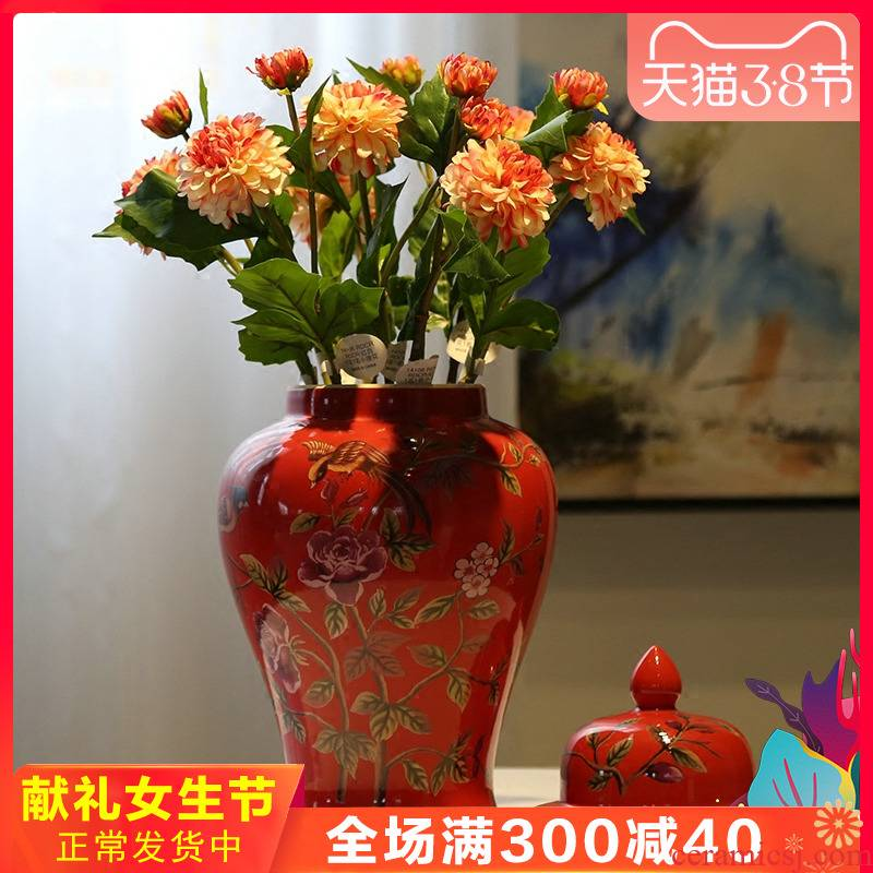 Modern new Chinese style wedding decoration flower implement ceramic vase furnishing articles, the sitting room porch piggy bank tea as cans accessories