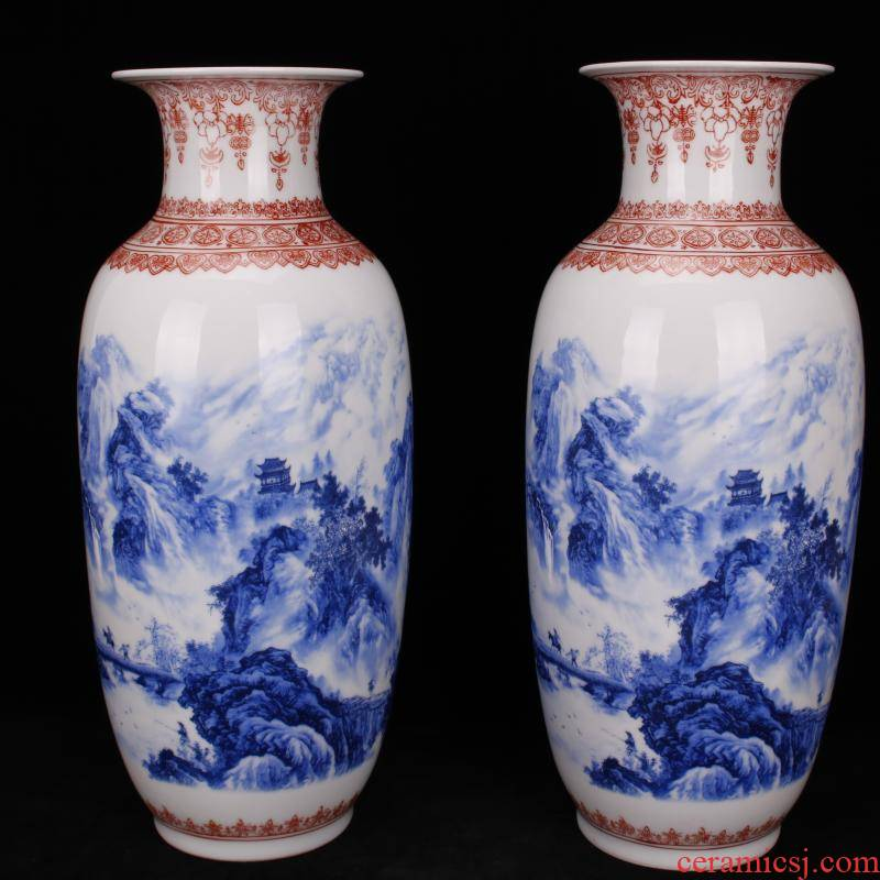 Jingdezhen blue and white youligong imitation qianlong hand - made diaoyu island landscape, vases, antique collection of Chinese style household furnishing articles