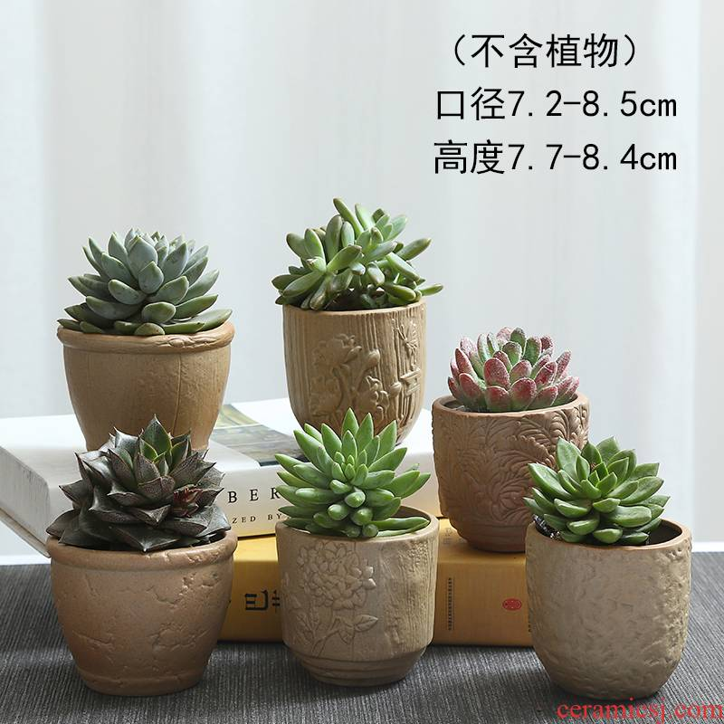 Biscuit firing ceramic flower pot the plants more coarse pottery, fleshy meat meat, green potted contracted move flowerpot large old basin
