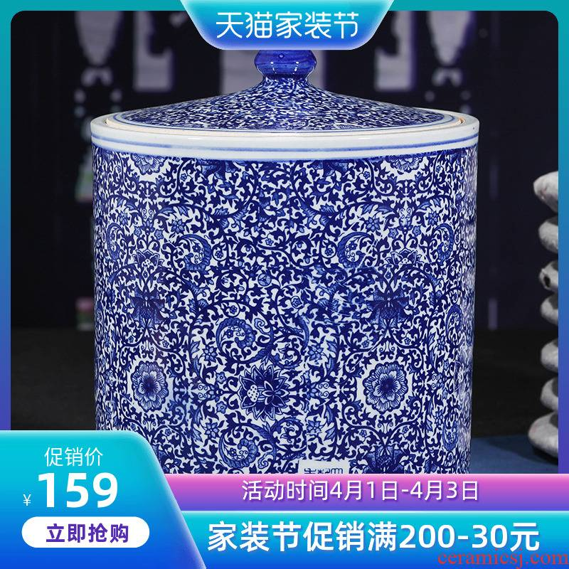 Jingdezhen ceramic tea canister receives puer tea cake tin seal tea cake home large general restoring ancient ways