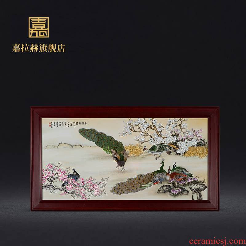 Jia lage jingdezhen ceramic hand - made famille rose porcelain plate painting restaurant wall of setting of the sitting room porch decoration mural hang a picture