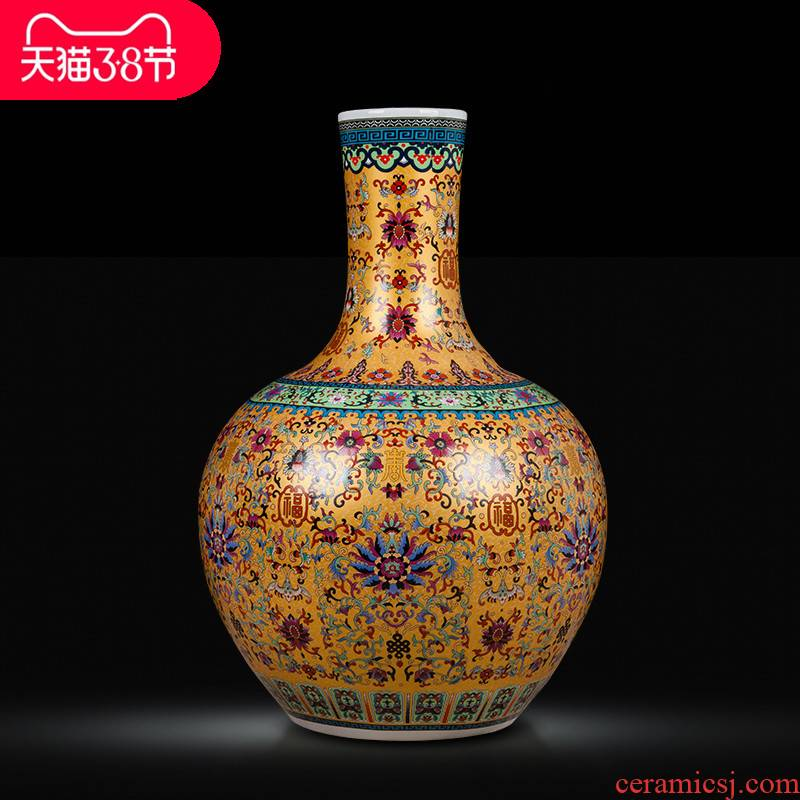 Jingdezhen ceramics large vases, boreal Europe style colored enamel home furnishing articles