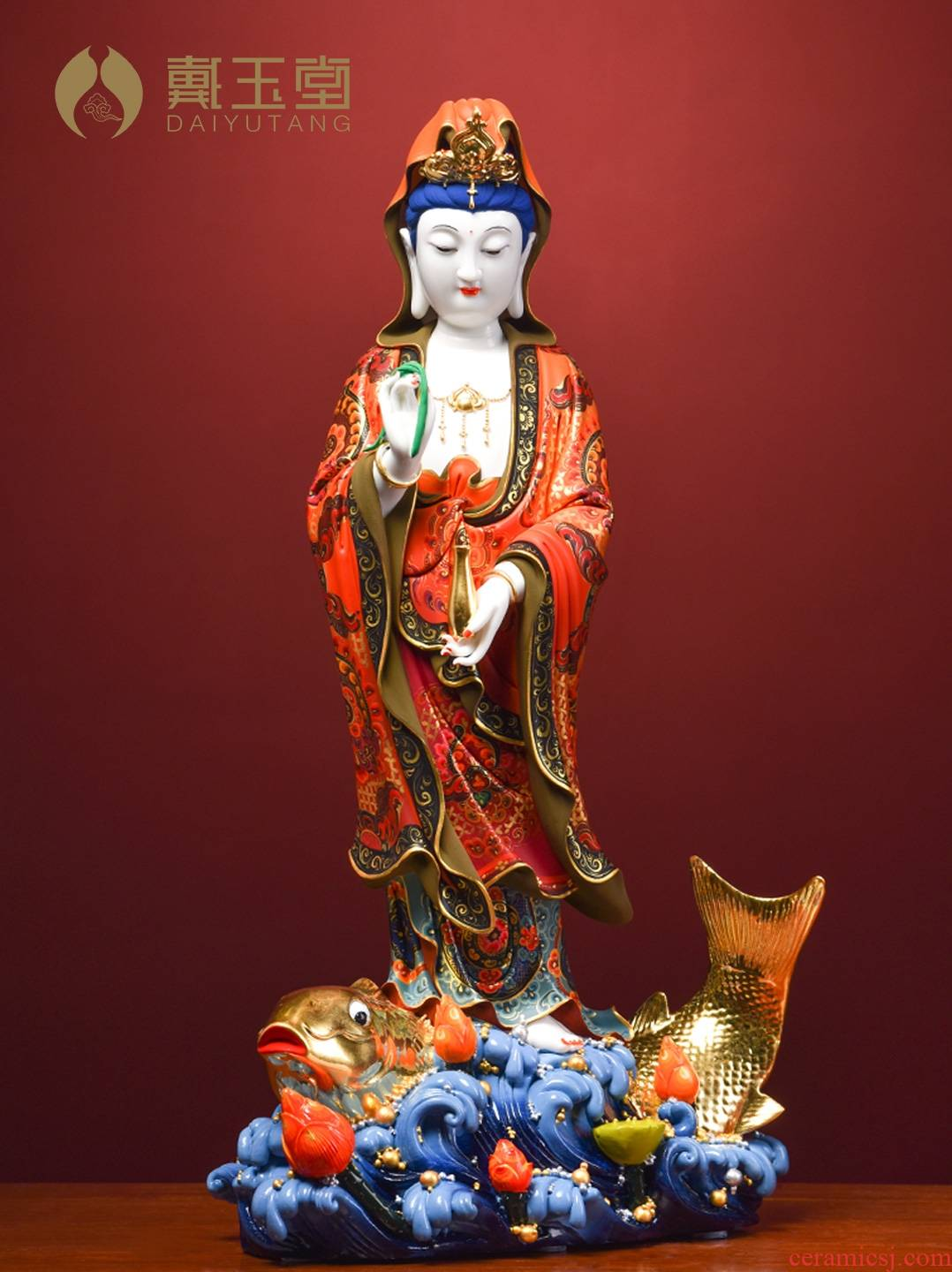 Color ceramic production is pulled from the shelves 】 【 the south China sea guanyin Buddha carp guanyin bodhisattva