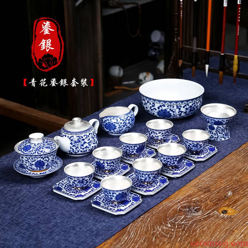 Jingdezhen coppering. As silver tea set home office with tea kung fu tea gift of a complete set of ceramic teapot teacup