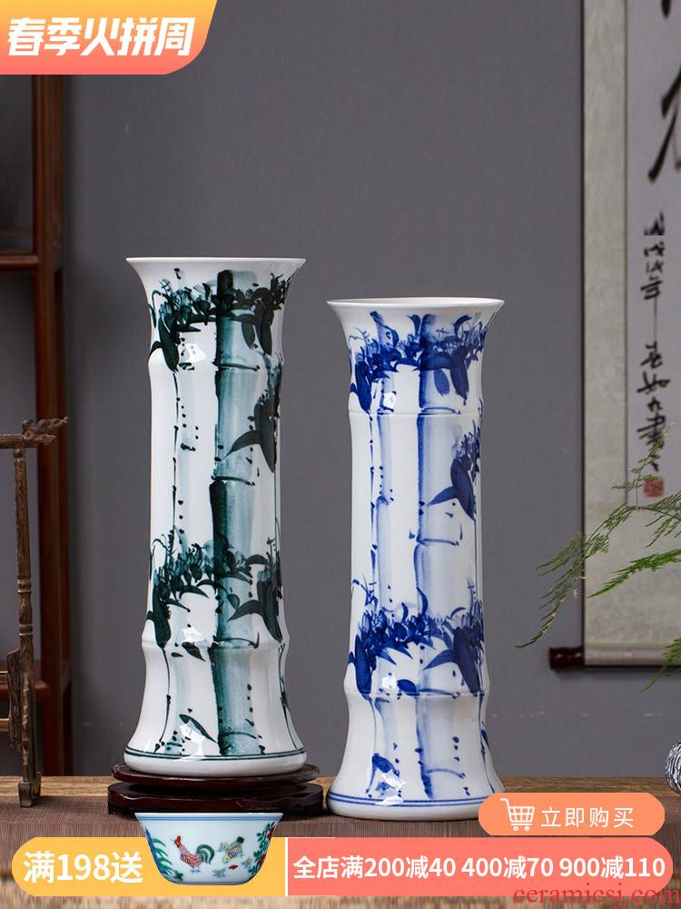 Water raise lucky bamboo vase furnishing articles hand blue and white porcelain of jingdezhen ceramic flower arrangement straight French king sitting room