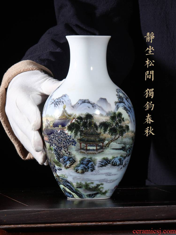 Jingdezhen ceramics hand - made vases, flower arranging the sitting room of Chinese style household decorations goddess of mercy bottle color landscape characters