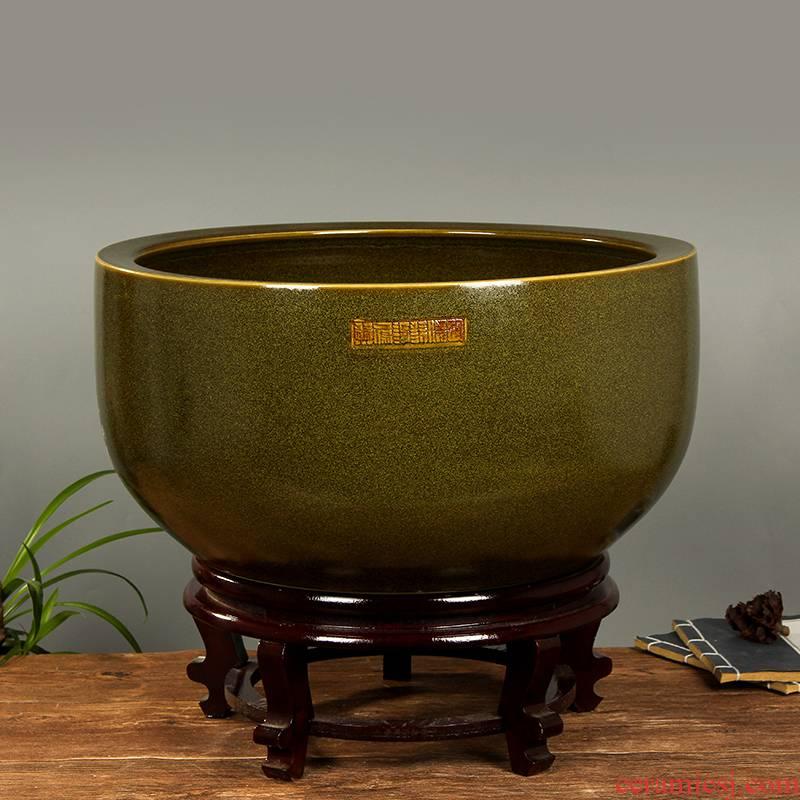 Art spirit of jingdezhen ceramic aquarium desktop sleep keep goldfish bowl lotus basin lotus tortoise GangPen furnishing articles in the living room
