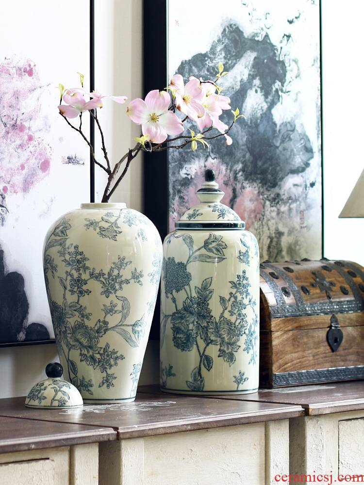 New Chinese style flower grain jingdezhen ceramic antique blue and white porcelain vases, flower arrangement sitting room place the clear soup WoGuo restoring ancient ways