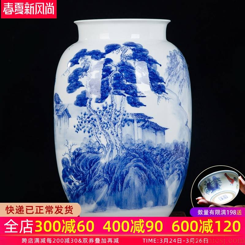 Jingdezhen ceramic vase furnishing articles new Chinese hand - made of blue and white porcelain flower arrangement, the sitting room TV cabinet decoration