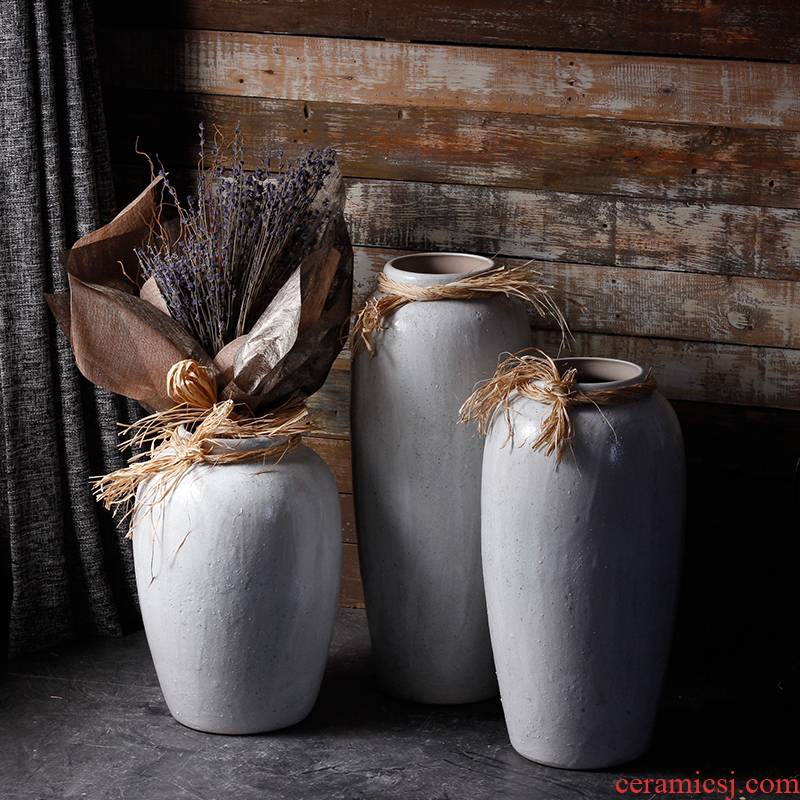 Jingdezhen ceramic vase landing coarse pottery hemp rope hydroponic flower implement dry flower pot of rural art decorative as cans