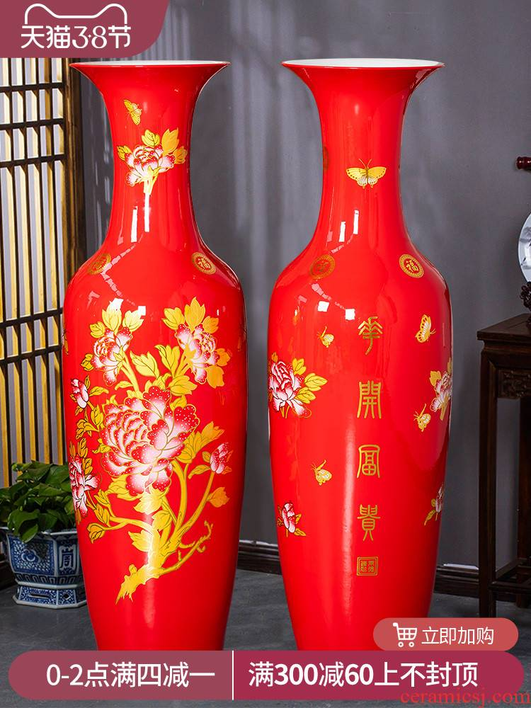 Jingdezhen ceramics China red large vases, Chinese style living room decorations furnishing articles to heavy large clearance