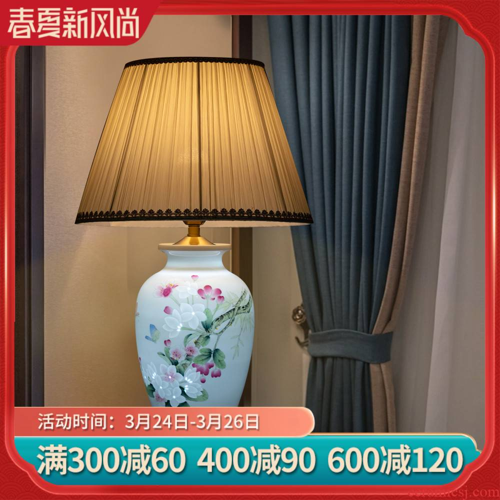 Jingdezhen ceramics hand - made flowers money butterfly vase of new Chinese style household adornment marriage room bedroom berth lamp