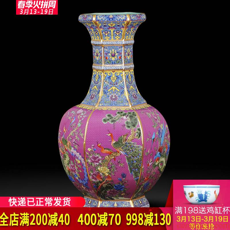 Jingdezhen ceramics imitation qianlong archaize floor paint palace large vases, flower arranging Chinese style adornment furnishing articles