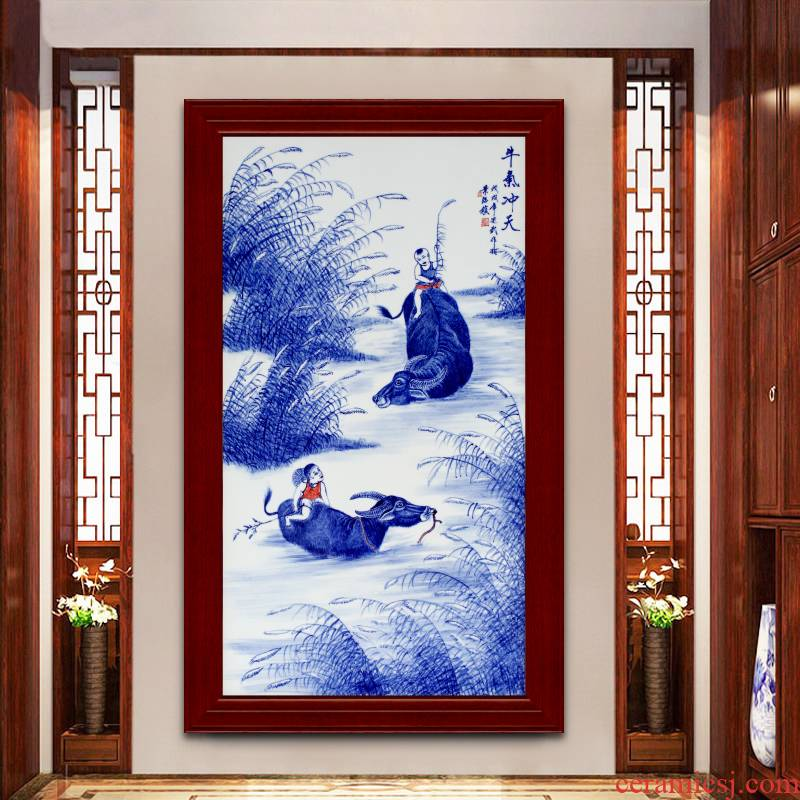 Jingdezhen ceramic hand - made cattle figure setting wall of blue and white porcelain sitting room adornment picture of modern Chinese style porch hang mural
