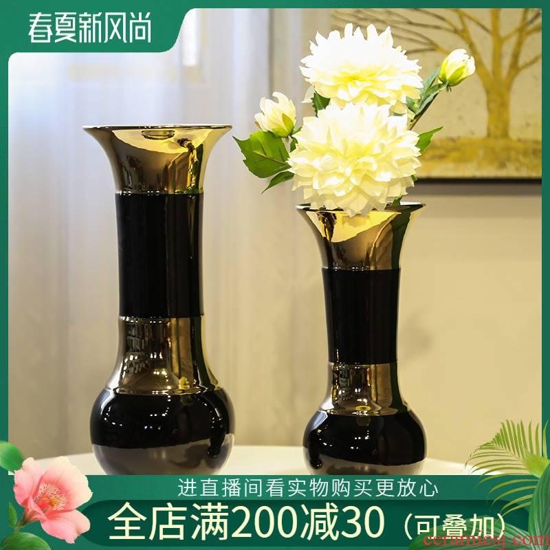 Jingdezhen light key-2 luxury furnishing articles ceramic simulation flowers home sitting room adornment TV cabinet table vase household decoration