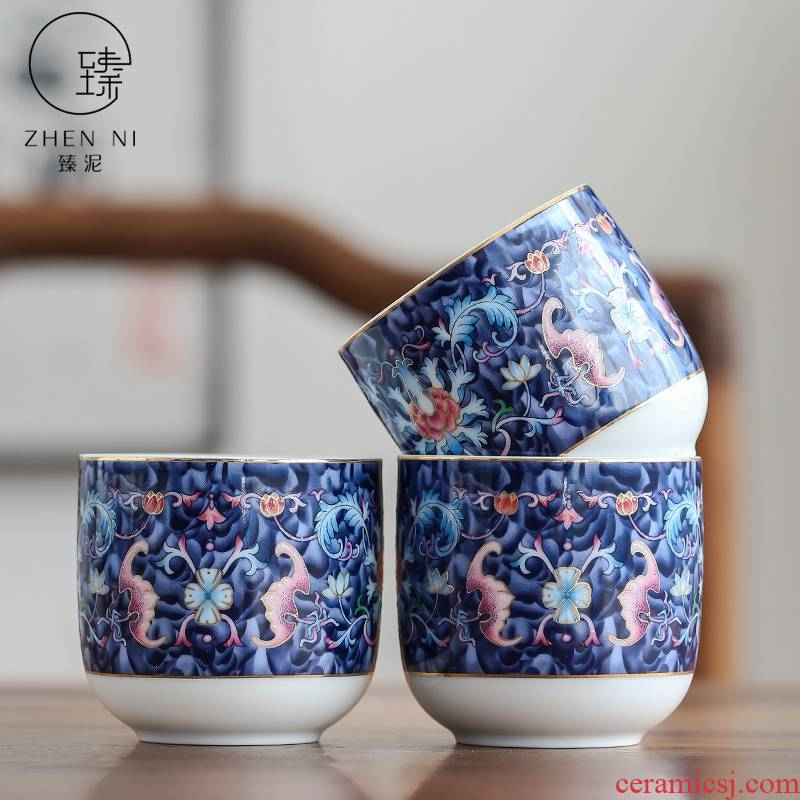 By large mud masters cup jingdezhen colored enamel household ceramic cups sample tea cup Japanese people make tea bowl