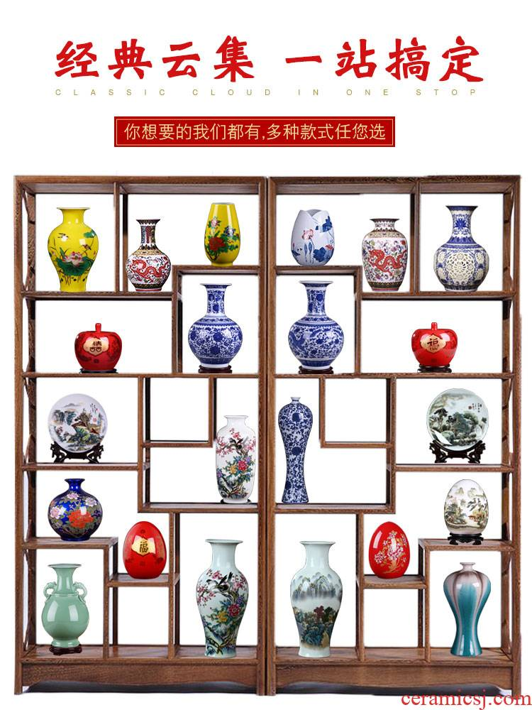 Porcelain of jingdezhen ceramics vase furnishing articles flower arranging rich ancient frame furnishing articles floret bottle of blue and white Porcelain decoration arts and crafts
