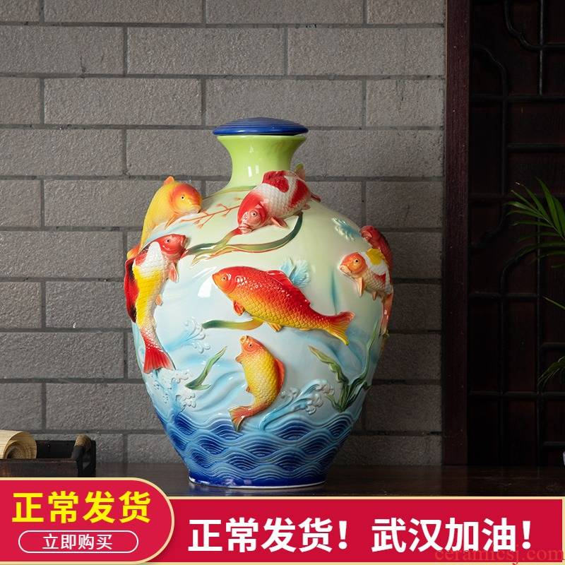Jingdezhen ceramic household seal wine jar 20 jins in the process of creative leap it bottle furnishing articles