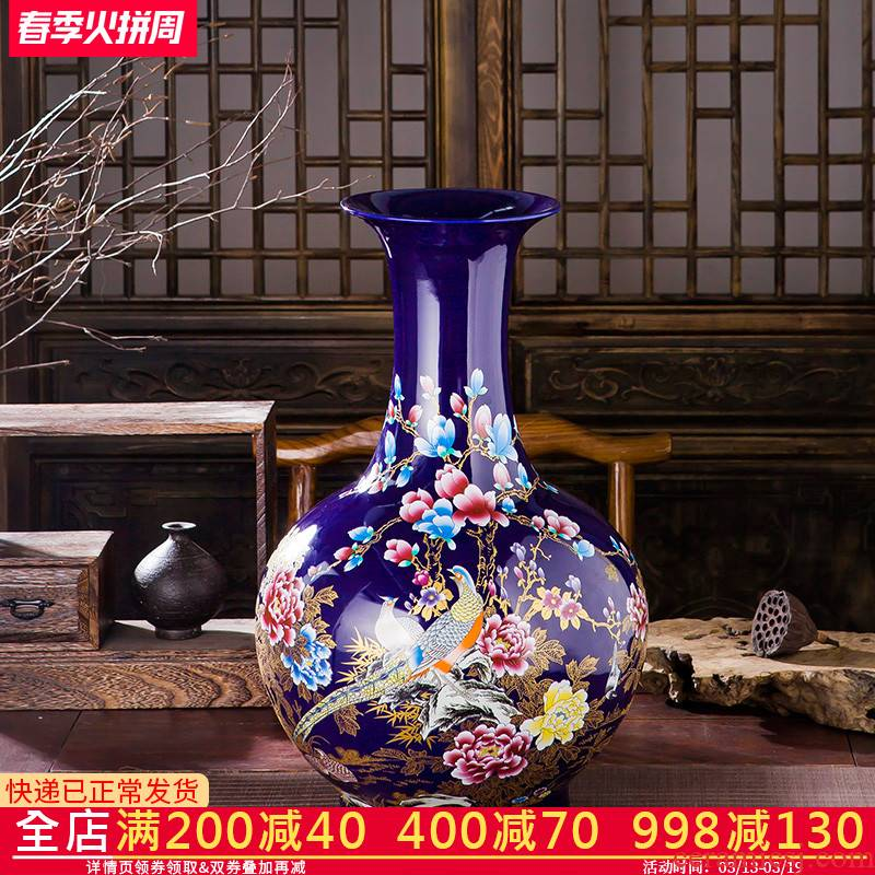 Jingdezhen ceramics blue large vases, flower arranging is placed high sitting room porch decoration of Chinese style household style