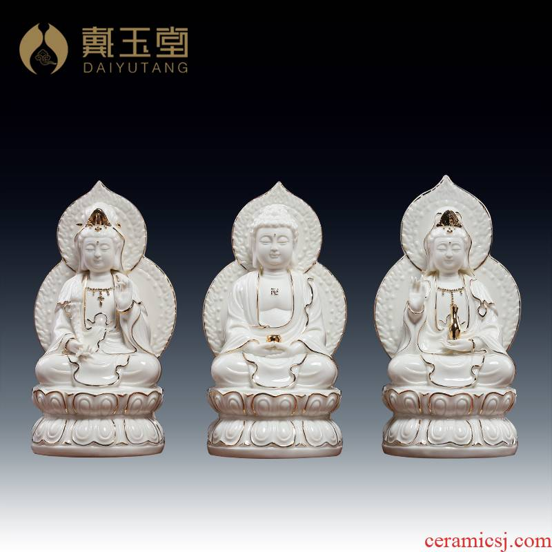 Yutang dai guan Yin tathagata hid in ceramic household decoration to furnishing articles/7 inches retinues three holy D21-07 p