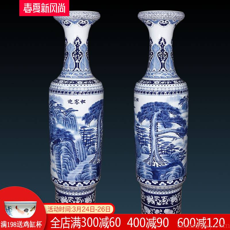Jingdezhen ceramics hand - made guest - the greeting pine landscape painting of large blue and white porcelain vase villa hotel opening gifts