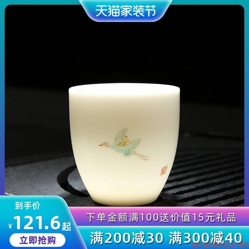 Dehua ceramic masters cup suet white jade cup hand - made kung fu tea tea master hand, individual sample tea cup