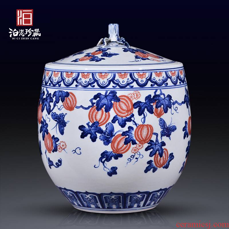 Jingdezhen blue and white household ceramics caddy fixings new sitting room bedroom home decoration rich ancient frame furnishing articles