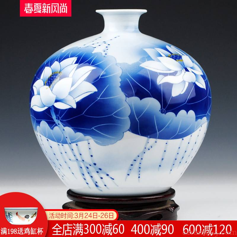 Jingdezhen ceramics famous master pomegranate flower vase made lotus archaize sitting room home furnishing articles collection