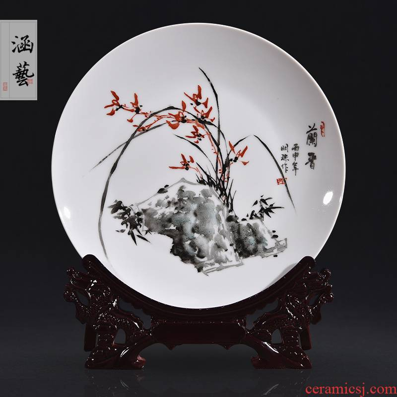 Jingdezhen ceramics hand - made ink spearmint decorative plate hang dish of the sitting room porch place of the new Chinese style craft gift