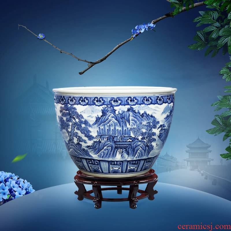 Blue and white porcelain of jingdezhen ceramic furnishing articles a goldfish bowl lotus bowl lotus basin hotel decorative fish bowl large living room