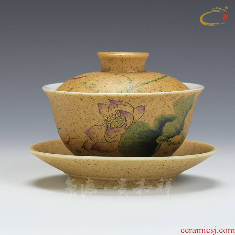 And auspicious hand - made high temperature ceramic only three bowls of jingdezhen ceramic kung fu tureen tea bowl of tea lid cup