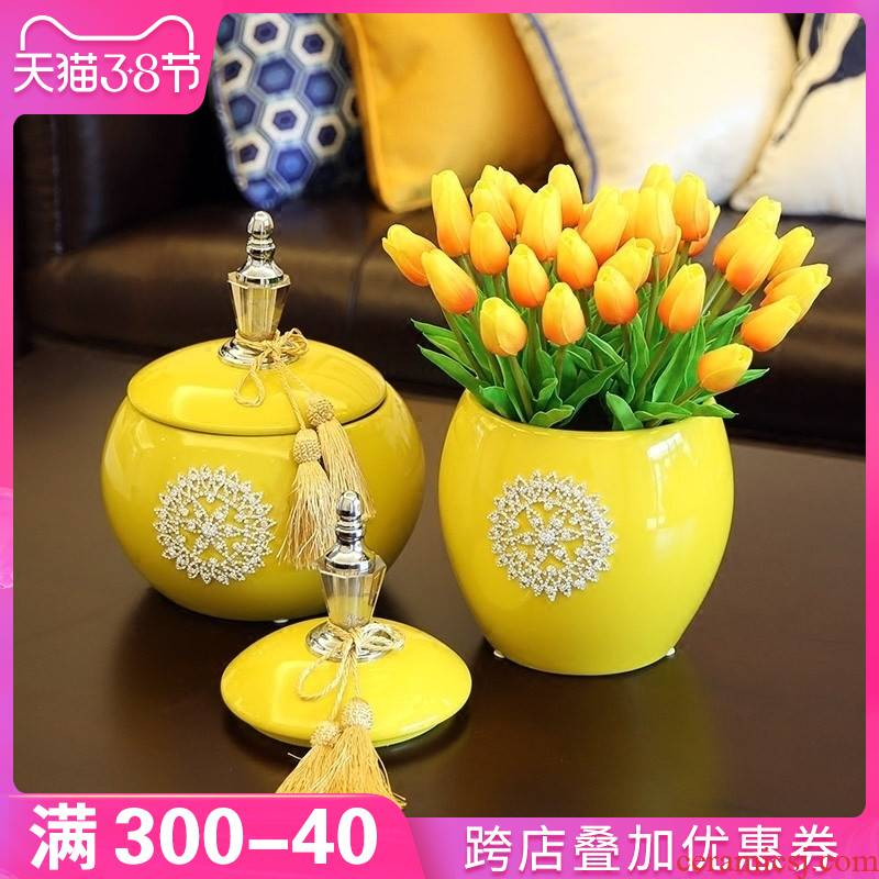 European ceramic vases, dried flowers, flower arrangement table vase furnishing articles, the sitting room porch decoration TV ark, decoration ideas