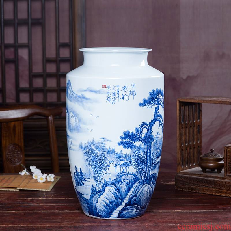 Jingdezhen ceramics hand - made high blue and white porcelain vase decoration flower arranging rich ancient frame of Chinese style household adornment handicraft