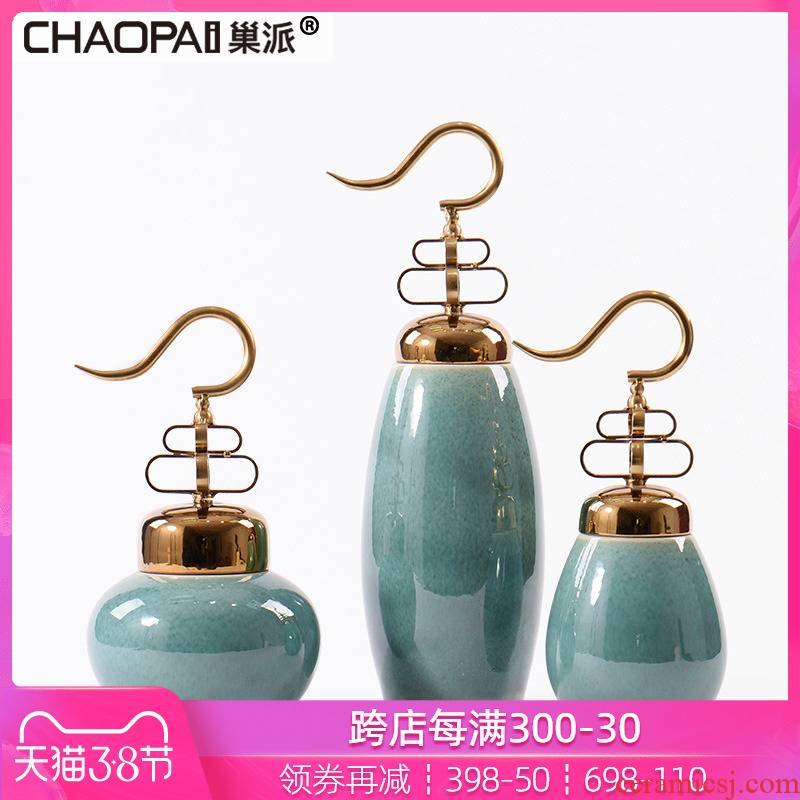 New Chinese style light key-2 luxury porcelain pot furnishing articles creative home example room TV ark club hotel lobby decoration