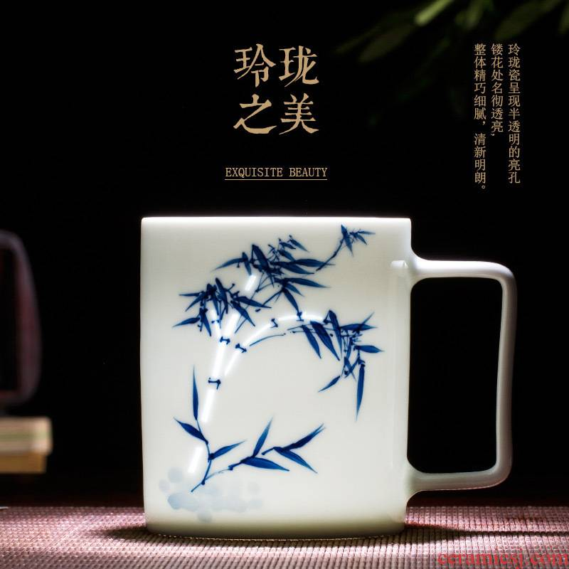 Jingdezhen blue and white and exquisite ceramic household cup tea cup suit men and women creative manual hand - made tea set