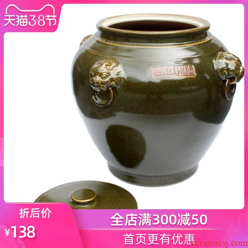 Strong sequence of jingdezhen ceramics cylinder barrel water storage tank flour furnishing articles carries ricer box with large originality