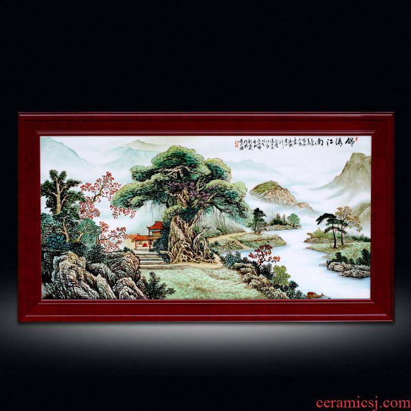 The Master of jingdezhen ceramic Chinese hand - made pastel landscape corridor of mural porcelain plate painting the sitting room porch wall hanging