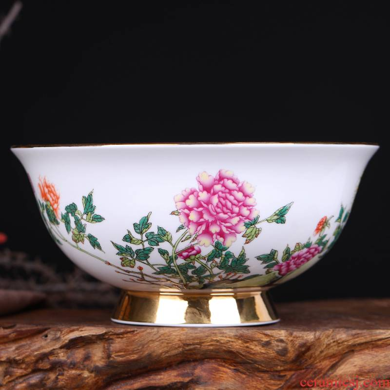 Jingdezhen ceramic antique rainbow such as bowl Chinese rice bowls bowl bowl 6 inches tall microwave bowl of hot gifts