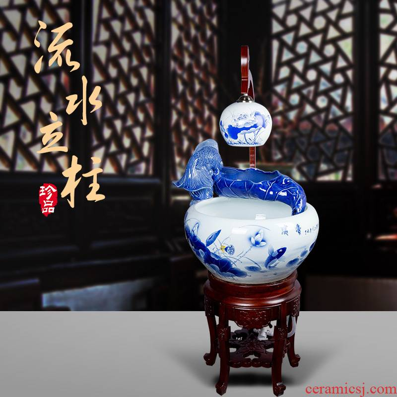 Jingdezhen ceramic extra large ceramic water tank water filtering tank atomizing spray breeding goldfish turtle cylinder