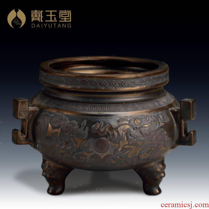 Yutang dai ceramic large antique copper incense xiang xiang furnace household interior furnishing articles for Buddha worship Buddha with supplies