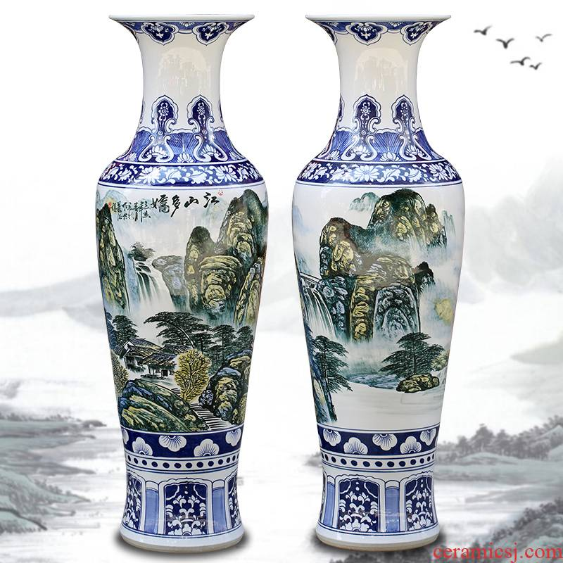 Jingdezhen ceramic hand - made landscape painting more than jiangshan jiao of large vases, furnishing articles sitting room of Chinese style household act the role ofing is tasted