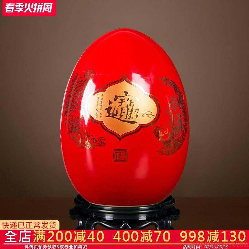 Jingdezhen ceramics small place China red maxim dense eggs home sitting room ark adornment process