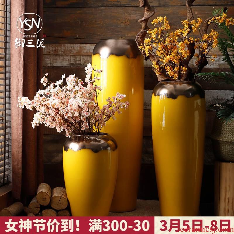Royal three mud modern ceramic vase simulation flowers adornment furnishing articles sitting room flower arranging false ground large porcelain decoration