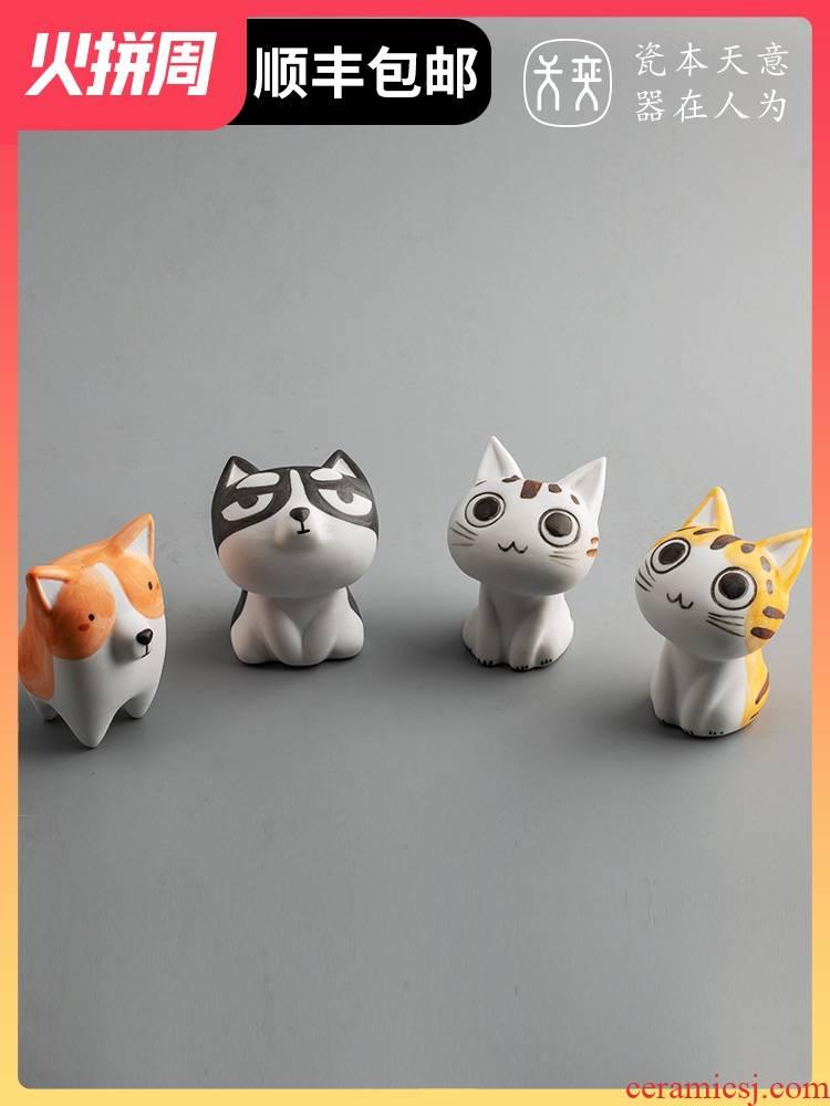 Kitten doggie ceramic cat furnishing articles, lovely creative Japanese girls girlfriend girlfriends boyfriend birthday present