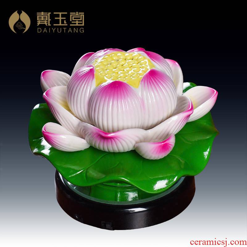 Yutang dai ceramic lotus lamp before Buddha GongDeng household Buddha worship supplies led towns/D20-119 - a 'model