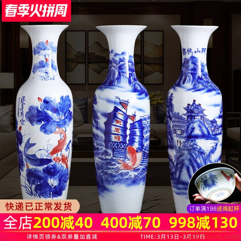 Manual hand - made porcelain of jingdezhen ceramics of large vase large - sized hotel opening sitting room adornment is placed