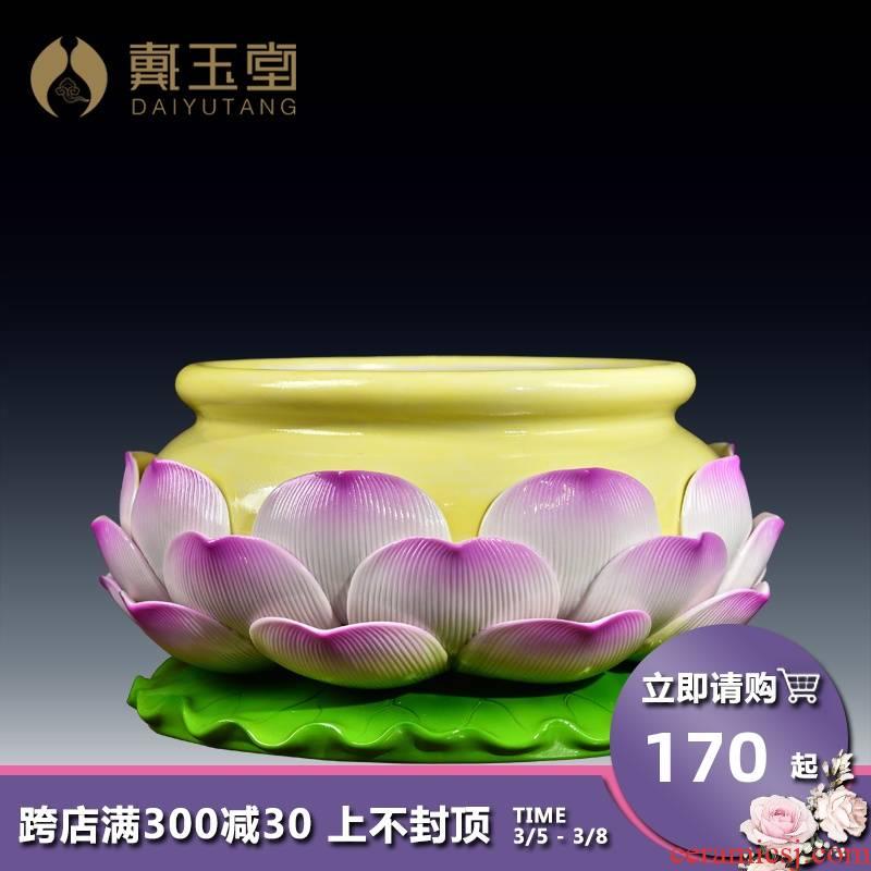 Yutang dai ceramics to joss stick incense buner large sweets Buddha temple worship supplies/9 inch lotus incense buner